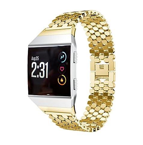 Bande pour Fitbit Ionic, Gaddrt solide en acier inoxydable accessoire montre bracelet en métal (Doré)