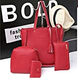 TENGGO 4 Pz Borse Nappa Borse A Spalla Elegante Pochette Borse Portafogli Card Holder-Rosso