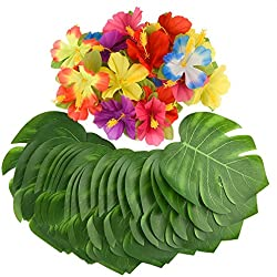 """KUUQA 60 Pcs Tropical Party Décoration Fournitures 8"""" Tropical Palmtera feuilles de feuilles et fleurs d'hibiscus, feuille de simulation pour Hawaiian Luau Party Jungle Beach Thème Table décorations"""