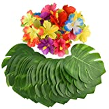 KUUQA 60 Pcs Tropical Party Décoration Fournitures 8' Tropical Palmtera feuilles de feuilles et fleurs d'hibiscus, feuille de simulation pour Hawaiian Luau Party Jungle Beach Thème Table décorations