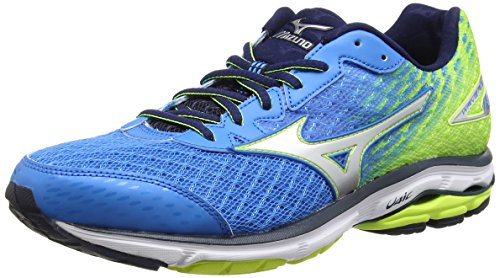 Mizuno Wave Rider 19, Chaussures de Running Compétition homme Multicolore (Divablue/Silver/Safety Yellow)