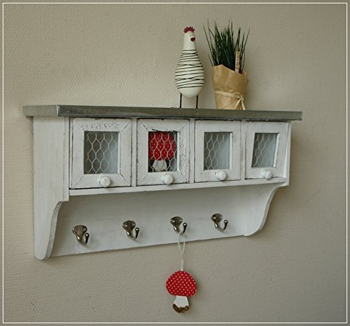 Cottage Mit 3 Schubladen (Kleiner Wandschrank Glastür mit Drahtgeflecht Shabby Weiß)