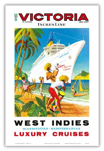 Pacifica Island Art West Indies, Skandinavisch, Mediterran-Incres Linie Luxus-Kreuzfahrten-Ms Victoria Cruise Liner-Vintage Ocean Travel Poster c.1971-Master Kunstdruck Antik 12