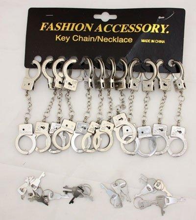 Preisvergleich Produktbild 12x Schlüsselanhänger Handschellen, Mitgebsel Detektivparty, Polizeiparty, Kindergeburtstag
