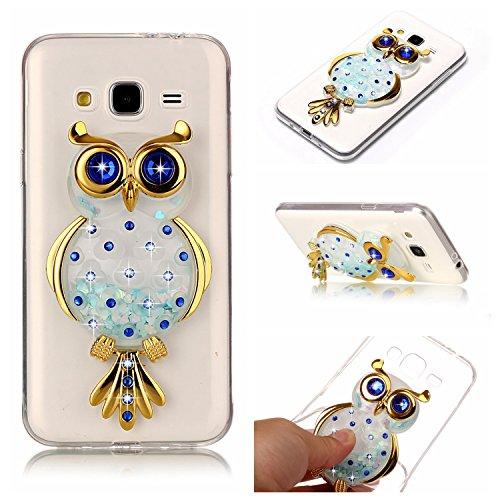 Weich Silikon Hülle für Samsung Galaxy Grand Neo I9060/I9082 3D Eule Design TPU Durchsichtig Zurück Bumper Glänzen Schutzhülle Blau Flexible Etui Transparent Weiche Ultra Schlank Clear Back Case