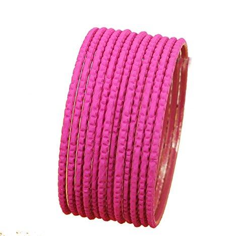 schen Bollywood Pretty Laserschnitt-strukturierte Pink Fuchsia Designer Schmuck Armreif Armbänder Set 12Stück. Für Frauen. ()