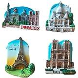 Bella 4pcs Magnet für Kühlschrank Kühlschrankmagnete Urlaubs-Souvenir Reise Souvenir Frankreich Paris Eiffelturm Kathedrale Notre Dame Basilika des Heiligen Herzens Fridge Magnet Sticker