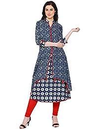 YASH GALLERY Women`s Cotton A-Line Printed Kurti(Blue)