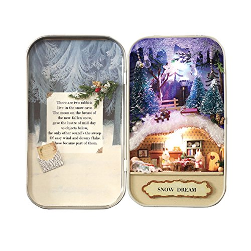 DIY Dollhouse Miniature Kit Handmade Xmas/Birthday Idea Gift Box Theatre (Snow Dream)