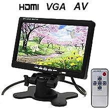"""BW Monitor TFT para el coche, pantalla de 7"""", HD 1024x600 resolución nativa, HDMI + VGA + AV, entrada y salida de vídeo y auriculares, soporte con 360º de rotación, doble fuente de alimentación"""