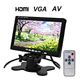 BW 7 Inch TFT LCD Car Monitor HDMI Car Monitor Car Headrest Monitor - HD 1024x600 Native Resolution, HDMI + VGA + AV Video Inputs/Outputs and Speaker , PC Monitor with 360 Degree Rotating Stand and Dual Power Supply Interface