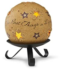 Pavilion Gift Company Comfort Candles 4-Inch Pierced Round Candle Holder with Stand, Best Things in Life