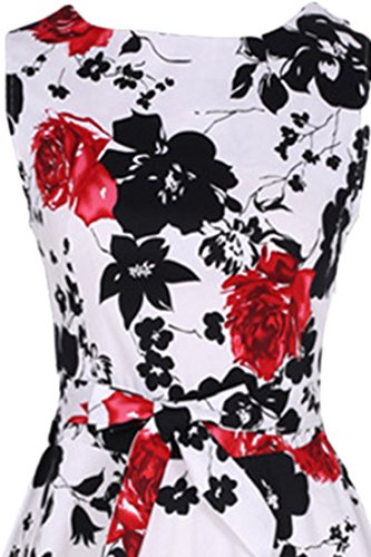 Azbro Women's Vintage Sleeveless Floral Print A-line Dress blue