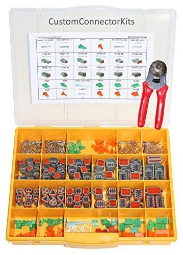 Deutsch Connector Tools (Deutsch DT Serie Connector Kit dt-450mit Crimpzange: Grau Umweltfreundlich versiegelt Automotive elektrischen Anschlüssen 14-20Gauge 450Stück Kit mit 4-Wege-Vertiefung Crimpzange)