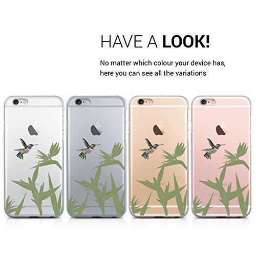 kwmobile Hülle für Apple iPhone 6 / 6S - TPU Silikon Backcover Case Handy Schutzhülle - Cover Marmor Design Schwarz Weiß Kolibri Blume Pink Grün Transparent