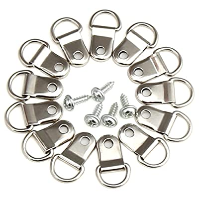 H&S 200 x D Rings Picture Photo Frame Hanging Hooks Hangers Canvas Hook Wall Bracket Hanger With Screws Stainless Steel Silver Small - cheap UK light store.