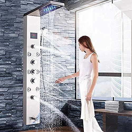 Nickel SPA Massage Jet Duschpaneel Wasserhahn Turm Digital Screen Thermostat Bad Wasserhahn Luxus LED Duschsäule Wasserhahn