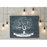 80x60 cm, Stammbaum, Familienstammbaum Leinwanddruck-Stammbaum, Genealogie Baum, Family tree, Family baum,