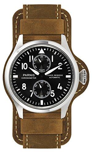 PARNIS 9033 sportliche Edelstahl-Automatik-Uhr 5BAR Wasserdicht 47mm Mineralglas Herren-Uhr Gangreserveanzeige Seagull Markenuhrwerk Kaliber ST25 Pilot-Uhr
