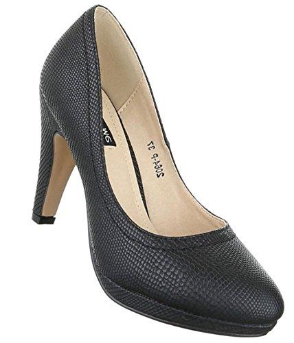 Damen Pumps Schuhe High Heels Stöckelschuhe Stiletto Plateau Schwarz Schwarz 36 37 38 39 40 41 Schwarz