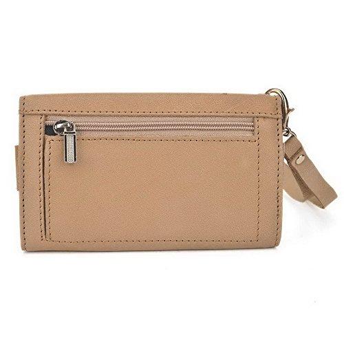 Kroo Pochette en cuir véritable pour téléphone portable pour Yezz ANDY c5vp/c5ql Marron - marron Marron - marron