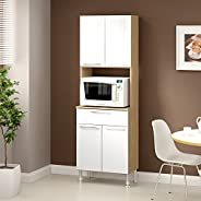 Ditalia Wooden Kitchen Unit With Four Doors, Two Drawers and One Microwave Compartment, White/Brown