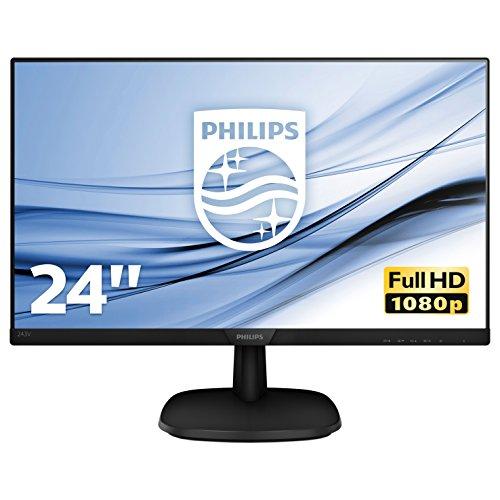 Philips 243V7QDSB/00 60 cm (23,8 Zoll) Monitor (VGA, DVI, HDMI, 5ms Reaktionszeit, 1920 x 1080, 60 Hz) Schwarz