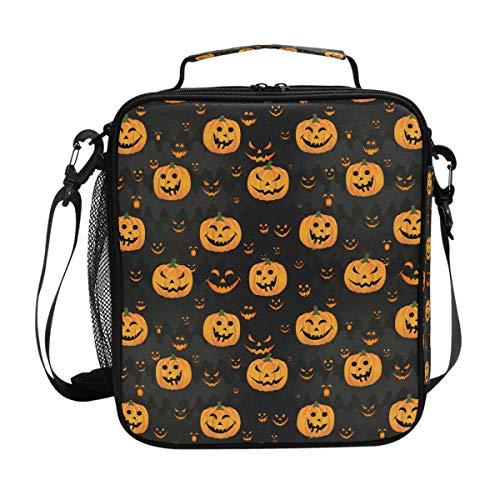 JSTEL Lunchtasche Halloween Kürbis gruseliges Gesicht Handtasche Lunchbox Lebensmittelbehälter Gourmet Bento Coole Tote Kühltasche Warm Tasche für Reisen Picknick Schule Büro