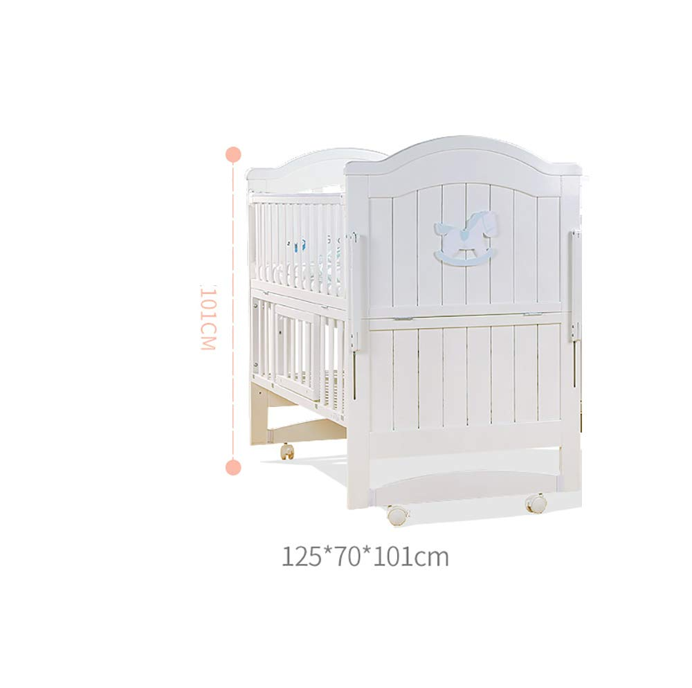 VBARV Solid Wood Crib, Multi-function Cradle Bed, Children's Splicing Bed, Portable Folding Bed, Suitable for Infants 0-8 Months Cute Nest VBARV The multifunctional bassinet design is suitable for use as a standalone crib, or as a co sleeper crib. Interchangeable modes allow either a stable or rocking mode at the touch of a button CONVERTIBLE: Simply pull up the side rail and use the cot as a stand-alone bed or bassinet during the day. Four lockable wheels make it easy for you to move from one room to another having your newborn always on your side. Modern travel crib in easily foldable,Mosquito net to protect your little one against insects, pets etc 4