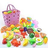 Rolanli 42 Stück Emulational Gemüse Obst Schneiden Geschirr Set Spielzeug mit Korb für Kinder Rollenspiele