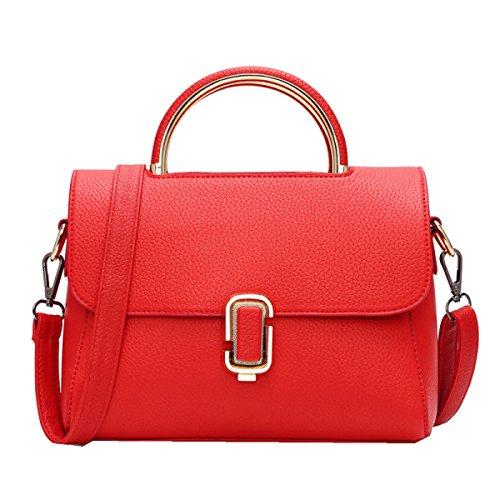 Yy.f Neu Der Zustrom Von Frauen Schulterbeuteln Einfach Geprägte Leder-Handtaschen Art Und Weise Gewaltsam Sperren Kleines Quadratisches Paket Mehrfarbige Beutel Red