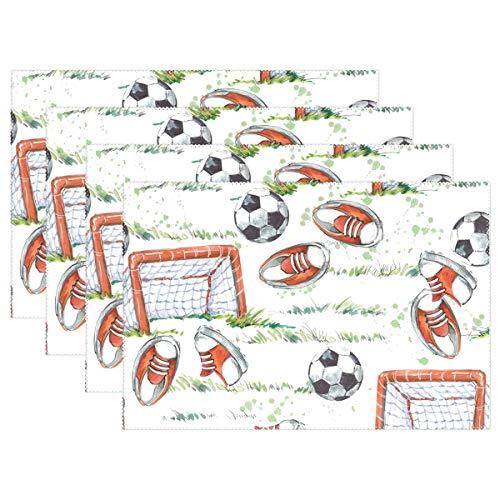 ALARGE Platzsets, Fußball-Aquarell-Tischset, waschbar, hitzebeständig, fleckenabweisend, Tisch-Dekoration, für Küche und Esstisch, Polyester, Multi, 4 Stück
