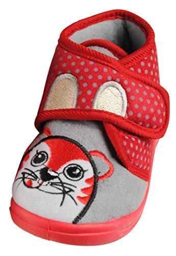 Immerschön Kinder-Hausschuhe in vielen Farben Schlappen Pantoffeln für Mädchen und Jungen rot Katze Pünktchen Gr. 25