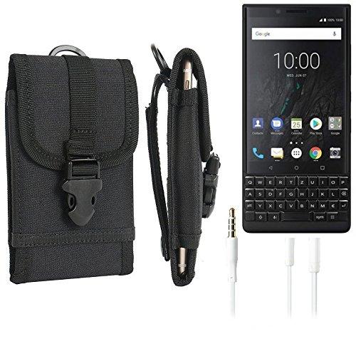 K-S-Trade Schutzhülle für BlackBerry KEY2 (Dual-SIM) Gürteltasche Gürtel Tasche extrem robuste Handy Schutz Hülle Tasche Outdoor Handyhülle schwarz 1x + Kopfhörer