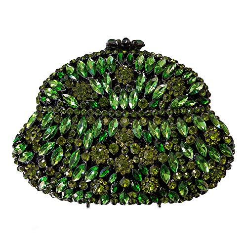 Kristall-perlen-geldbörse (ZTDXCL Damen Clutch Geschirrtasche Diamant Kristall Kette Abendtasche Abendtasche Hochzeit Party Braut Handtasche Geldbörse, Grün)