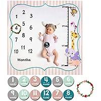 Bebé Manta Mensual Hito, ANBET Fotografía de fondo para recién nacidos Pegatinas y corona mensuales para niños niñas - 120 × 120 cm
