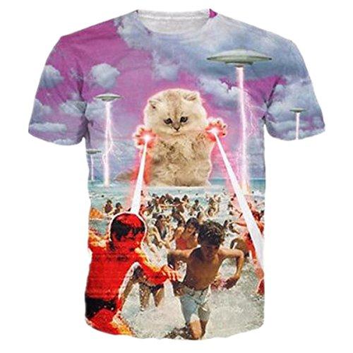 HWHColor Männer Frauen 3D Laser Katze Attcak Strand Shirt Lustiges Grafik T-Shirt (Lustige Strand T-shirt)