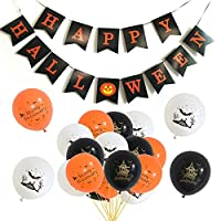 caicainiu Happy Halloween Banner Bunting with a Pack Party Exclusive Balloon Pumpkin Sign for Halloween Wall Decoration Party Supplies Family Hanging Photo Props