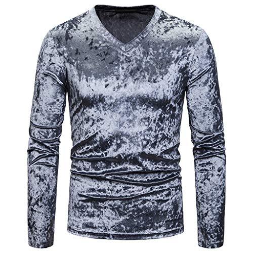 DNOQN Polo Shirt Männer Langes Sportshirt Mode Persönlichkeit Männer Beiläufig Senior Revers Diamant Samt T-Shirt Top Bluse L