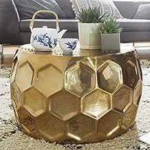 Fesselnd FineBuy Couchtisch Beehive 60x36x60 Cm Aluminium Anstelltisch Gold  Orientalisch Rund | Flacher Hammerschlag Sofatisch Metall |