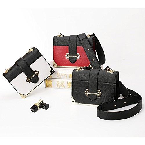 BYD Damen Mini Handtasche Damen-Beutel Weinlese PU-Leder-Schulter-Beutel-beiläufige Beutel Außerhalb der Metallschnalle sicherer Rote