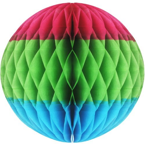 Tri-Color Tissue Ball (cerise, lt green, turquoise) Party Accessory (1 count) (1/Pkg) by Beistle - 1 Pack Tri-color
