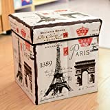 LAZYKARTS 1PC Folding Storage Box,Toy Storage Boxes, Foldable Containers Organizer, Sitting Stool, Basket with lid for Living room, Bedroom and Office, Good Quality fabric,Paris Tower