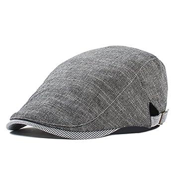 5466d4f0811 Kuyou Newsboy Flat Cap Cotton Linen Gatsby Ivy Irish Hunting Hat (Dark Grey)