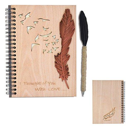 Giftgarden Notizbuch a5 liniert Holz Spiralbindung Ringbuch Hardcover Notizheft Ring spiral edel cool Einband mit einer Feder und Vögel enthält einen Federkiel
