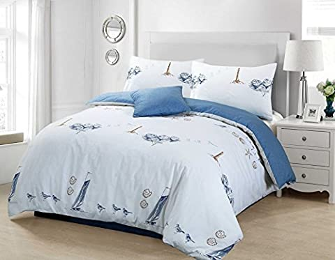 3pc Beachcomber 68-Pick Pure 100% Cotton Nautical Sea Life Shell Lighthouse Seagull Quilt Duvet Cover Bedding Set