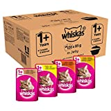 Whiskas 1+ Casserole Wet Cat Food for Adult Cats Poultry Selection in Jelly, 120 Pouches (120 x 85 g)