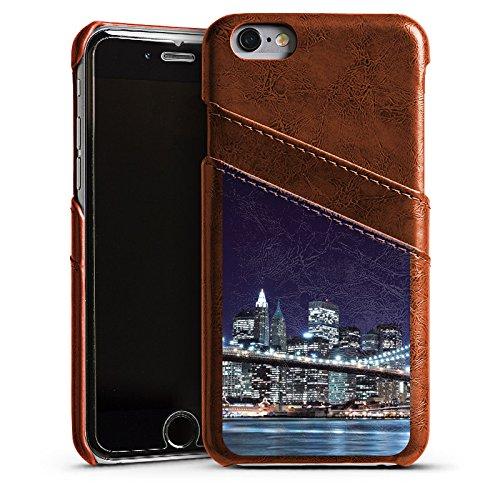Apple iPhone 5s Housse Étui Protection Coque Pont de Brooklyn New York Pont Étui en cuir marron