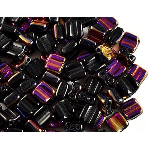 30pcs Silky Block Beads - Czech perle di vetro schiacciate, piazza 6x6mm con due fori, Jet Black Half Purple Vitrail