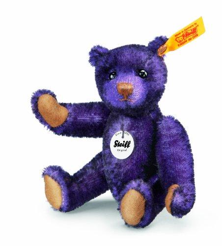 Steiff 040276 Classic Teddybär, 12 cm, Mohair, aubergine gespitzt